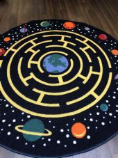 133X133CM  CIRCLE RUG SHAPES HOME-SCHOOLS EDUCATIONAL NON SILP MATS SPACE RACE